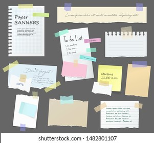 Paper notes on stickers, notepads and memo messages torn paper sheets. Vector blank sticky notepaper posts of meeting reminder, to do list and office notice or information board with appointment notes
