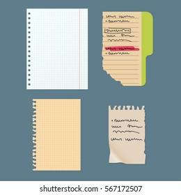Paper notes sheet for message vector illustration.
