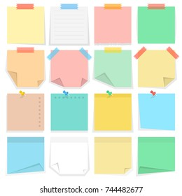 Paper notes and stickers. Vector illustration.