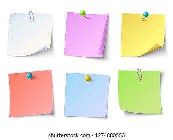 Paper notes. Top view note sticker or memo sticky paper. Notepaper, business tack remind stickers notes or bulletin papers sheet colorful vector isolated icons set