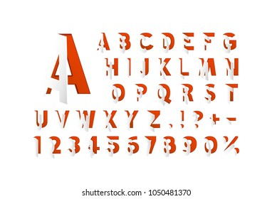 Paper open font. red letter and numbers set. Vector illustration