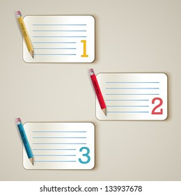 Paper options with yellow, red and blue pencil - one, two, three on the beige background