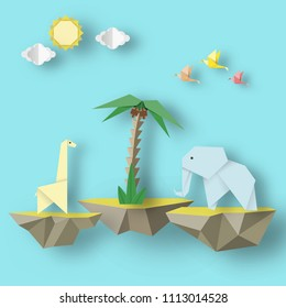 Paper Origami Abstract Concept, Applique Scene with Cut Birds, Elephant, Giraffe and Levitate Island. Artwork Crafted. Cutout Template with Elements, Symbols for Card. Vector Illustrations Art Design.