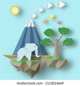 Paper Origami Abstract Concept, Applique Scene with Cut Birds, Elephant, Volcano and Fly Island. Folded Artwork. Cutout Template with Elements, Symbols for Card. Vector Illustrations Art Design.