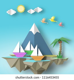 Paper Origami Abstract Concept, Applique Scene with Cut Birds, Yacht, Mountain, Palm and Fly Island. Artistic Artwork. Cutout Template with Elements, Symbols for Card. Vector Illustrations Art Design.