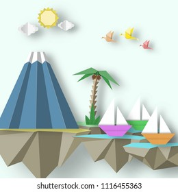 Paper Origami Abstract Concept, Applique Scene with Cut Birds, Yacht, Mountain and 3D Fly Island. Papercut Exotic Artwork. CutOut Template with Elements, Symbols for Card. Vector Illustration Art Desi
