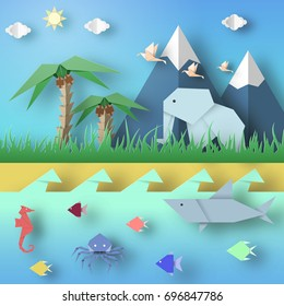 Paper Origami Abstract Concept, Applique Scene with Cut Elephants, Birds, Underwater Life. Kids Cutout Template with Elements, Symbols. Landscape for Summer Cards. Vector Illustrations Art Design.