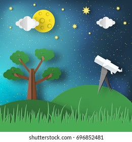 Paper Origami Abstract Concept, Applique Szene mit Cut Telescope und Sternen. Beobachtung durch ein Spyglass. Cosmos Cutout Vorlage mit Elementen, Symbole für Karten. Vektorgrafiken, Kunstdesign.