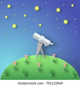 Paper Origami Abstract Concept, Applique Scene with Cut Telescope and Stars. Observation Through a Spyglass. Kids Cutout Template with Elements, Symbols for Cards. Vector Illustrations Art Design.