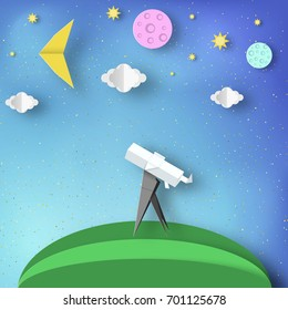 Paper Origami Abstract Concept, Applique Scene with Cut Telescope and Stars. Observation Through a Spyglass. Discover Cutout Template with Elements, Symbols for Cards. Vector Illustrations Art Design.