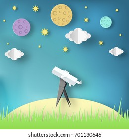 Paper Origami Abstract Concept, Applique Scene with Cut Telescope and Stars. Observation Through a Spyglass. Crafted  Cutout Template with Elements, Symbols for Card. Vector Illustrations Art Design.