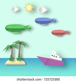 Paper Origami Airship Flies over the Sea and the Island. Vector Graphics Illustrations Art Design. Cut Landscape Scene. Kids Dirigible, Palm, Ship, Island, Clouds, Sun. Papercut Style. Cutout Trend.
