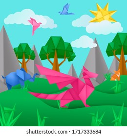 Paper origami animals landscape application paper background with dragon, bird, fox, elephant, clouds, trees, mountains. Kids template cut paper toy origami landscape vector illustration for card