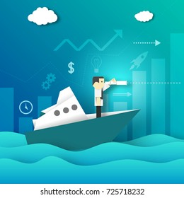 Paper Origami Businessman Looking for New Opportunities in the Telescope.The Ship Voyage on the Sea.  Business Concept. Cutout Template with Symbols, Icons. Vector Graphics Illustrations Art Design.