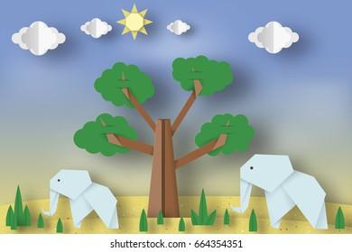 Paper origami concept applique scene cut stock vector royalty free