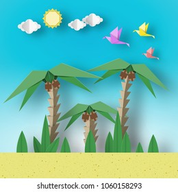 Paper Origami Concept Landscape with Birds, Palm, Sun, Sky. Papercut Style and Cutout Trend. Applique Summer Scene with Elements, Symbols. Vector Illustrations Art Design.