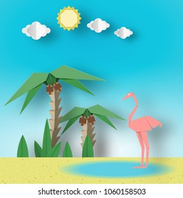 Paper Origami Concept Landscape with Flamingo, Palm, Sun, Sky. Papercut Style and Cutout Trend. Summer Tropical Applique Scene with Elements, Symbols. Vector Illustrations Art Design.