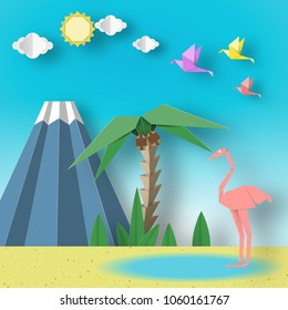 Paper Origami Concept Landscape with Flamingo, Birds, Palm, Sun, Sky, Volcano. Papercut Applique Style and Cutout Artistic Trend. Summer Scene with Elements, Symbols. Vector Illustrations Art Design.