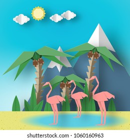 Paper Origami Concept Landscape with Pink Flamingo, Palm, Sun, Sky, Mountain. Papercut Style and Cutout Trend. Summer Exotic Applique Scene with Elements, Symbols. Vector Illustrations Art Design.