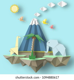 Paper Origami conceptual composition with soars islands on which there are elephant, erupting volcano, giraffe, tree. Cutout template with elements, symbols for cards. Vector Illustrations Art Design.