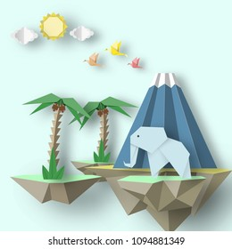 Paper Origami creative scene with soars islands on which there are papercut elephant, volcano, palm. Abstract concept. Cut out template elements, symbols for cards. Vector Illustrations Art Design.
