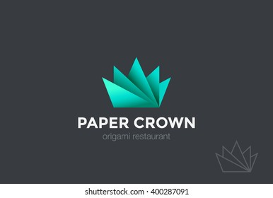 Paper Origami Crown abstract Logo design vector template. Creative Business Logotype concept icon.