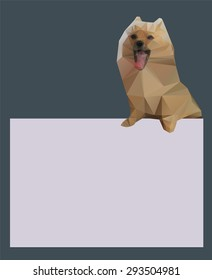 paper origami dog. triangular texture for your card design