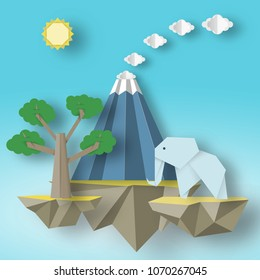 Paper Origami fashion concept with flying islands on which there are elephant, erupting volcano, tree. Exotic fancy park. Vector Illustrations Art Design.