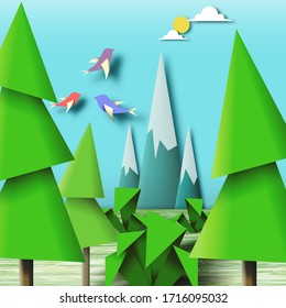 Paper Origami Figures, Colorful Kids Art Landscape, Geometric Paper Scene, Decorative Baby Toys, Amazing Origami Style, Template for Banner, Card, Poster, Ungewöhnliche Vektorillustration Illustration Art Design