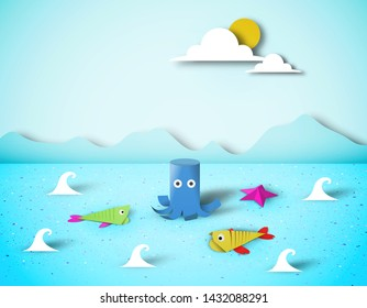 Paper Origami Fish, Octopus, Childish Creative Elements, Artistic Summer Composition, Unusual Made Template with Style Symbols for Banner, Card, Poster, Cut Seascape World, Eps10 Vector Illustration -