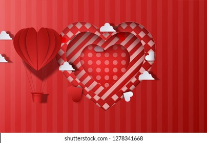 Paper origami of heart shapes hot air balloons.Valentines day background. Vector abstract heart. Paper art cut. Origami concept. Love illustration. For web and print, wallpaper, cards, flyers