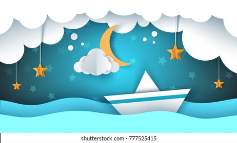 Paper origami illustration. Ship, cloud, star moon Vector eps 10