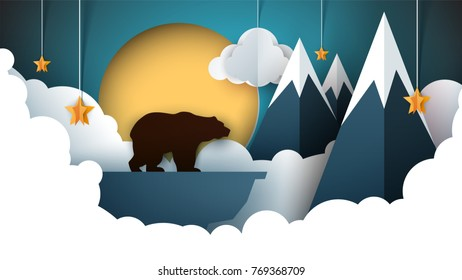 Paper origami landscape. Mountain, bear, animals, sun cloud hill star Vector illustration