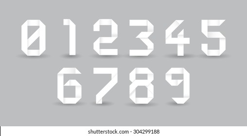 Paper origami numbers, illustration