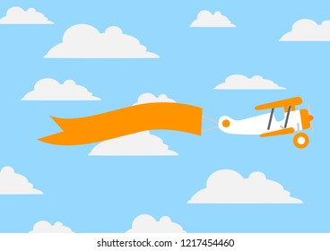 Paper origami of small plane with orange ribbon for your text on background with cartoon clouds. Vector