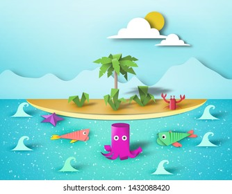 Paper Origami Summer Scene, Childish Creative 3D Elements, Artistic Summer Composition, Made Template with Style Symbols for Banner, Card, Poster, Cut Island World, Eps10 Vector Illustration - Vector