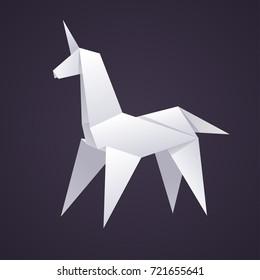 Paper origami unicorn, stylized geometric isolated vector illustration on dark background.
