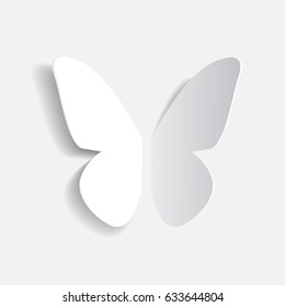 Paper origami white butterfly with shadow, vector icon