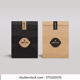paper package design mock up template.cafe and restaurant packaging.  coffee badge logo