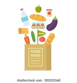 Paper package with fresh healthy produce. Organic products from the farm. Vegetables, bread, dairy products and eggs. Vector flat design illustration