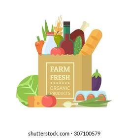 Paper package with fresh healthy produce. Organic products from the farm. Vegetables, bread, dairy products, vine, meat and eggs. Vector flat design illustration