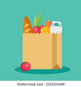 Paper package with produce flat icon isolated on blue background. Paper bag in flat style. Grocery bag with vegetables vector illustration.