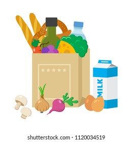 Paper package with products. Cheese, broccoli, olive oil, baguettes, pretzel, bottle of water, grapes, carrots, eggs, milk, bread, onion, mushrooms, radish. Vector illustration