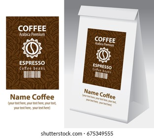 Paper packaging with label for coffee bean. Vector label for coffee with coffee bean, bar code and text on the background of coffee beans and paper 3d package with this label.