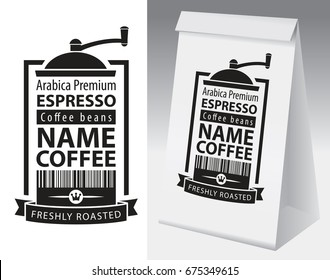 Paper packaging with label for coffee bean. Vector label for coffee with coffee grinder, bar code and text and paper 3d package with this label.