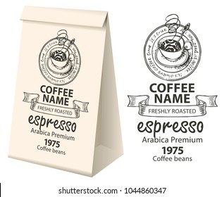 Paper packaging with a label for coffee beans. Vector label for coffee with the pencil drawing Cup of hot coffee and handwritten inscriptions and 3d paper package with this label.