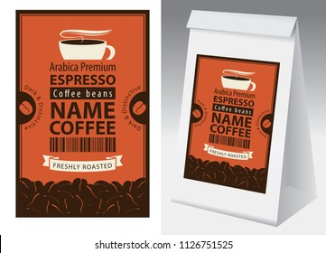 Paper packaging with label for coffee beans in retro style. Vector label for coffee with cup, bar code, coffee beans and paper 3d package with this label.