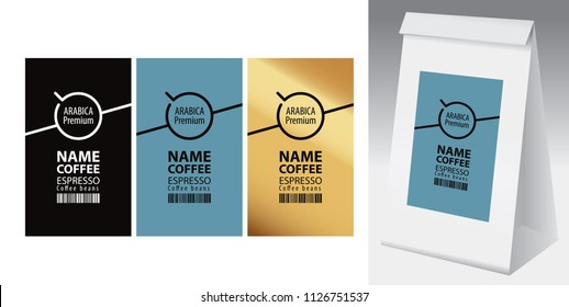 Paper packaging with label for coffee beans. Set of three vector labels for coffee with coffee cup and barcode, and paper 3d package with one of this labels.