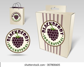 Paper packaging and labels for fruit, blackberry