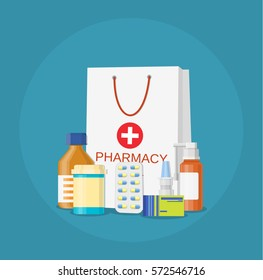 paper packet with medicine pills bottles liquids and capsules icon. pharmacy and drugstore concept vector illustration in flat style.